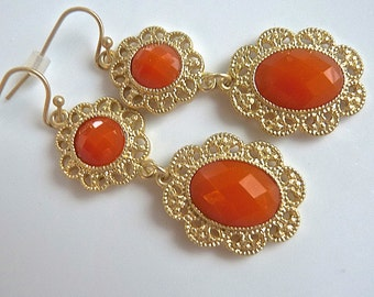 Orange Gold Filigree Lacy Vintage Look Dangle Earrings. Orange bridesmaids jewelry. Bridesmaids earrings