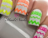 Chevron Stripe Neon Nail Art Wraps Self adhesive Stickers Transfers Decals Y828