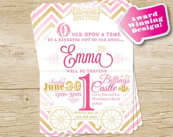 Princess Birthday Party Invitation in Gold and Pink Chevron, Princess Birthday Invite, Custom Chevron Birthday, Girl, PRINTABLE DIGITAL FILE