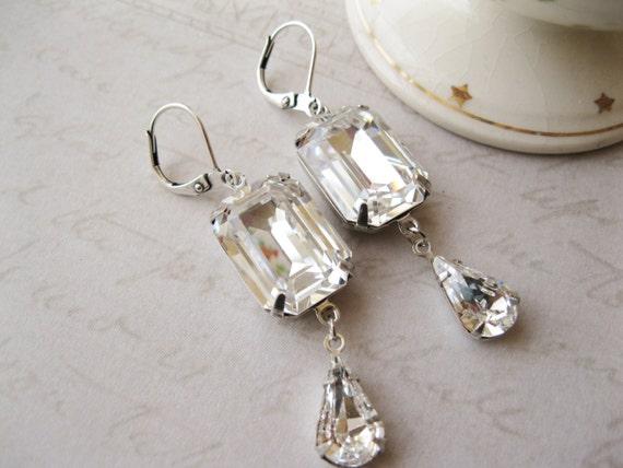 Art Deco Style Crystal Drop Earrings Vintage Style Rhinestone Wedding Earrings Old Hollywood Glam Statement Jewellery Swarovski Elements