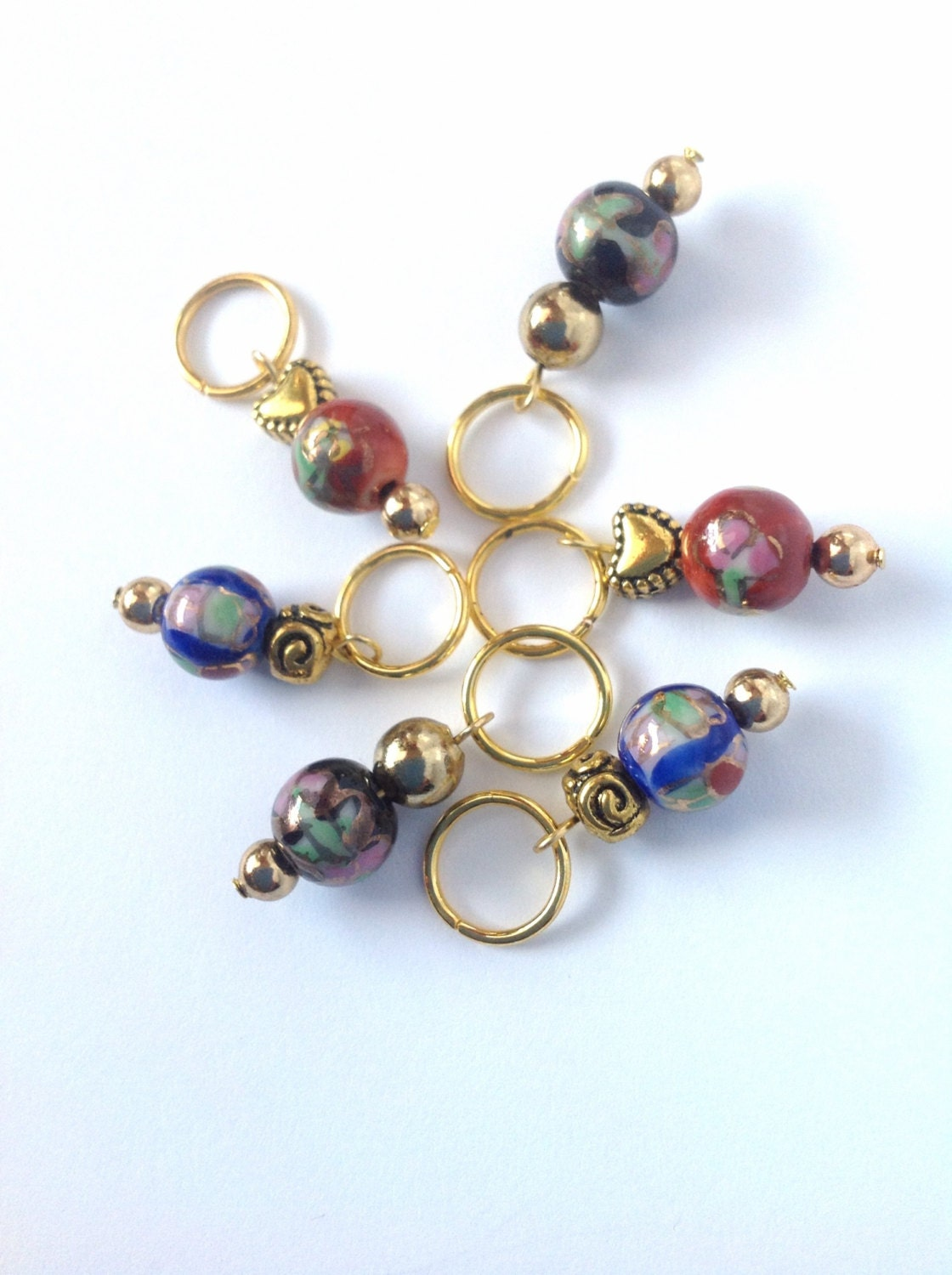 Decorative Knitting Stitch Markers : Red/blue/black/gold glass bead knitting stitch markers set