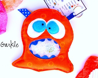 Sale: Garkle Monster, I Spy Bag Educational Toy -Boy Christmas gift -monster toy - Orange Fabric - Boy Gifts *Handmade *Monster Party