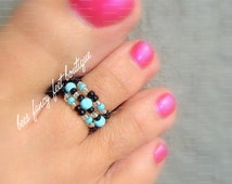 Stacking Toe Ring - Turquoise Stones - Pattern - Stretch Bead Toe Ring