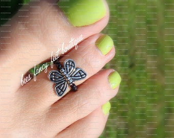 Toe Ring - Pewter Butterfly - Black Stretch Bead Toe Ring