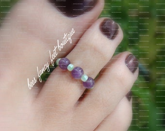Toe Ring - Amethyst Marble Stones - Stretch Bead Toe Ring