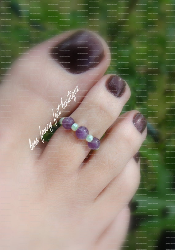 SALE - Toe Ring - Amethyst Marble Stones - Stretch Bead Toe Ring