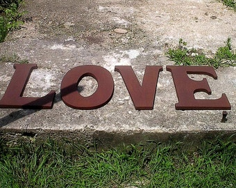 "Wooden Letters ""LOVE"" Large 18"" serif style sign Brown wedding decor Signage Engagement gift Bridal shower Wall decor shabby chic"