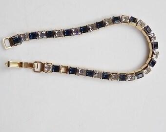 Vintage Navy and White Rhinestone Bracelet