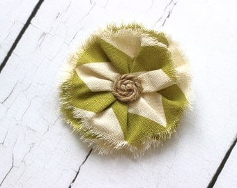ADD ON Large Olive Green Chevron Flower