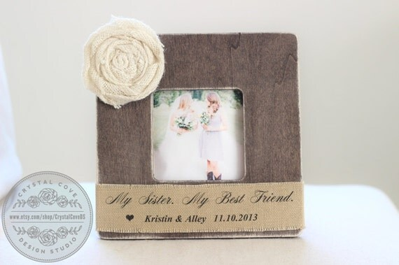 Unique Wedding Gifts For My Sister : ... Gift Personalized Picture Frame Rustic Shabby Wedding Gift My Sister