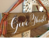 Give Thanks Thanksgiving Wooden Holiday Sign HD-6 by Sweet Carolina Collective