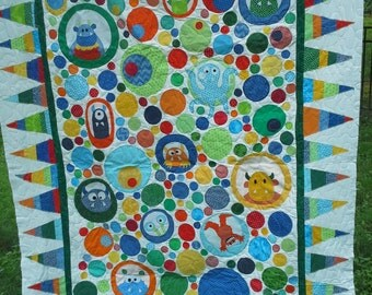 Monster Twin Quilt, Monster Bedding, Little Monsters Twin Bedding, Modern Geometric Twin Quilt Monster Bedding Modern Twin Bedding  Homemade