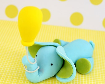 Fondant Elephant LAYING DOWN with or without balloon, choose your colors for heffalump party, baby shower, elephant baby shower