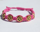 Pink Hemp  Beaded Bracelet  Celtic Beads Gold Beads
