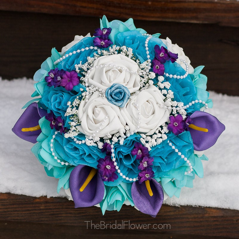 Teal And Purple Wedding Flowers: Mermaid Bouquet Flower Set Reserved Order