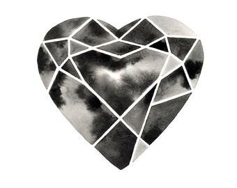 Geometric Heart Watercolor Painting Diamond Heart Artwork Hand Painted Minimalist Heart Marbled Black White Art Modern Scandinavian Painting