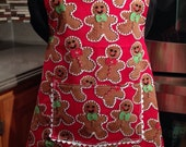 Holiday Apron with gingerbread man as the print