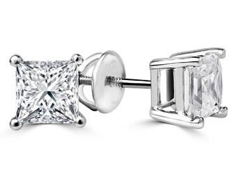 1 1/4 CTW Princess Cut Diamond Stud Earrings in 14K White Gold with Screw Backs (SI1-SI2)