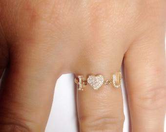 "14k Yellow Gold ""I Love U"" Diamond Ring"