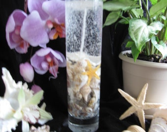 Recyclable Hawaiian Sea Shell Jelly Candle with Gardenia scent.