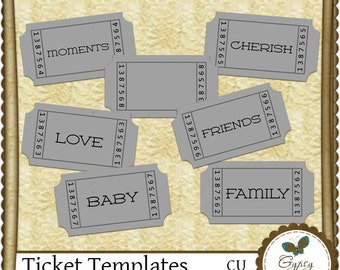 Commercial Use - Ticket templates, digital scrapbooking - Instant Download!