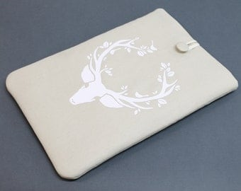 "White Deer Laptop Sleeve, Laptop cover for 11"", 13"", 15"", 17"" laptops, Linen laptop cover, Carbon X1 sleeve, Samsung laptop case, Antlers"