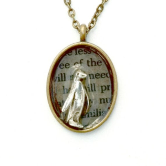 Penguin Steampunk necklace mixed metal penguin necklace Handmade Gift