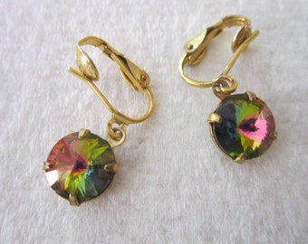 Vintage Gold Tone & Multi faceted Multi colored Dangle Earrings
