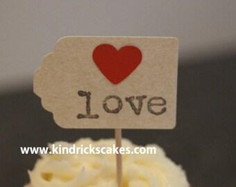 Love wedding engagement bridal cupcake topper