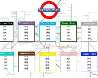 London Tube Map Table Seating Plan for Weddings Birthdays Parties