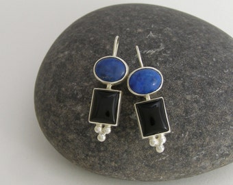 Blue Lapis and Black Onyx Beaded Sterling Silver Earrings