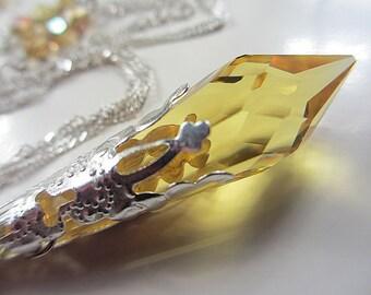 Swarovski Light Topaz Crystal Necklace Sterling Silver Golden Yellow Swarovski Crystal Necklace Icicle Citrine Necklace