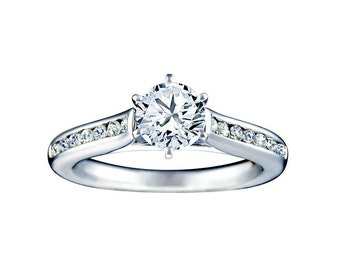 Certified diamond engagement ring 0.75  ctw 14 k white gold hand made