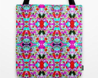 Boho Tote Bag, Canvas Tote Bag, Women's Tote, 16 x 16 inch, Summer Tote Bag,