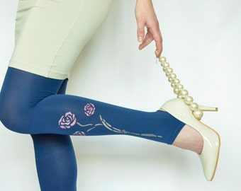 Tights with hand painted flowers , Footless Blue Pantyhose , Design Tights , Fashion Pantyhose