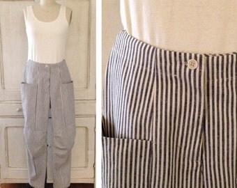 Indigo Stripe Gardener's Pants (Indigo Stripe)