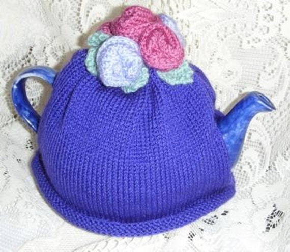 Hand Knitted Tea Cosy Patterns : ROSE TEA COSY Hand Knitted Rose Flower Tea by KnittingPatternShop