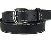 Men's High-Quality Black Leather Belt with Snap-ons Handmade fit-all Retro (1105_P001)