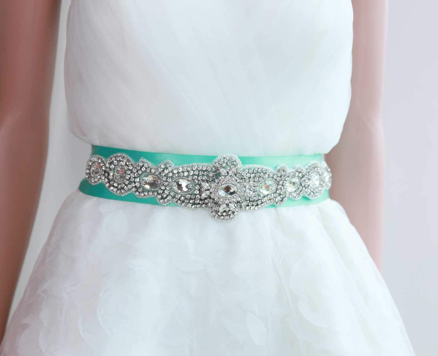 Bridal sash green blue wedding dress sash belt by for Blue sash for wedding dress