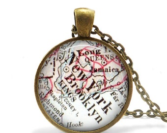 vintage Brooklyn map pendant charm, photo pendant, necklace pendant, New York map charm, Bachelorette Gift, Anniversary Gift, A263