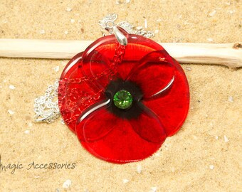 Handmade Poppy necklace.