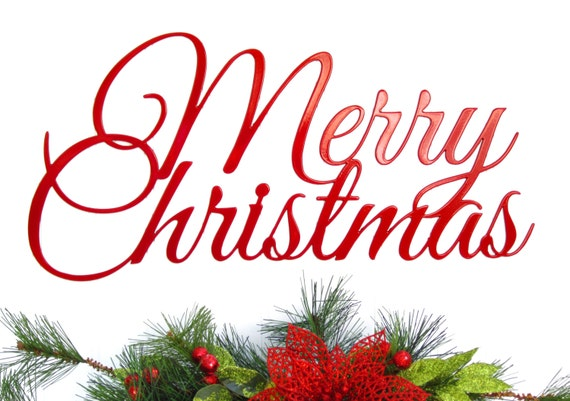 Merry Christmas Script Metal Sign Red 18x9.5 Christmas