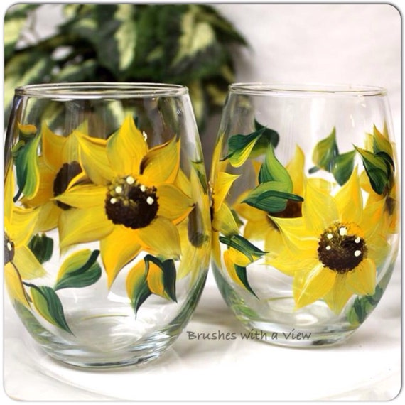 Sunflower Wine Glasses Stemless  Set of two