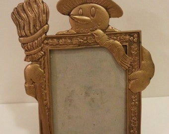 "Brass Snowman Photo Frame for 3 1/2"" x 5"" Photo"