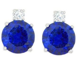 8 Ct Blue Sapphire & Zirconia Round Stud Earrings .925 Sterling Silver Rhodium Finish