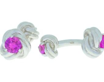 2.5 Ct Pink Sapphire Knot Cufflinks .925 Sterling Silver Rhodium Finish