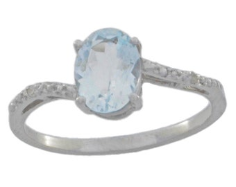 1.5 Ct Genuine Aquamarine & Diamond Oval Ring .925 Sterling Silver Rhodium Finish