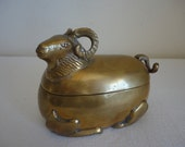 Vintage Brass Hollywood Regency Style Ram Box / Hollywood Regency / Good Luck Ram
