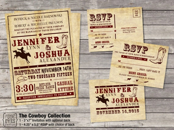 Western Wedding Invitation Wording: Items Similar To Cowboy Wedding Collection (Invitation And
