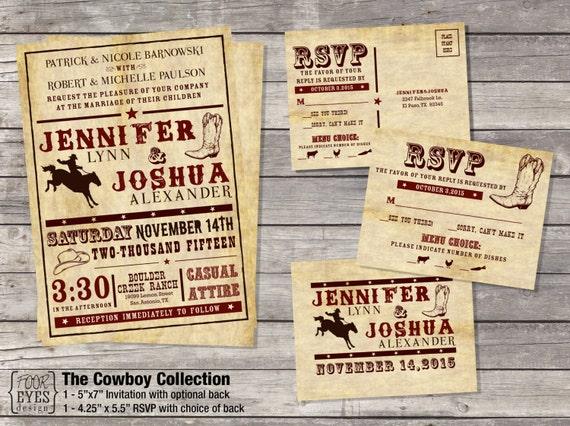 Cowboy Wedding Collection - DIY Printable File (Invitation and RSVP)